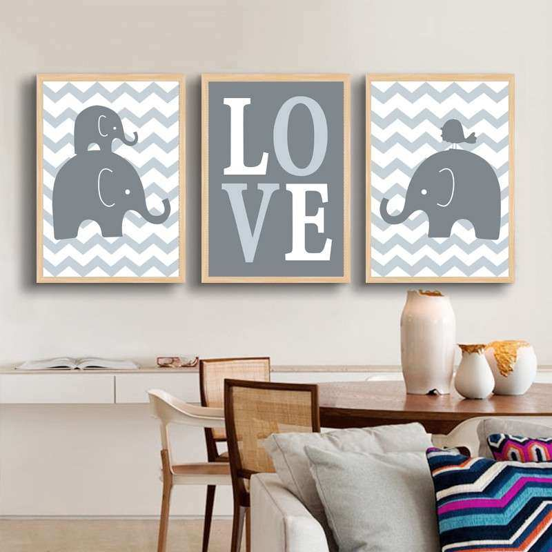 ELEPHANT Love Nursery Canvas Wall Art Artwork Posters and
