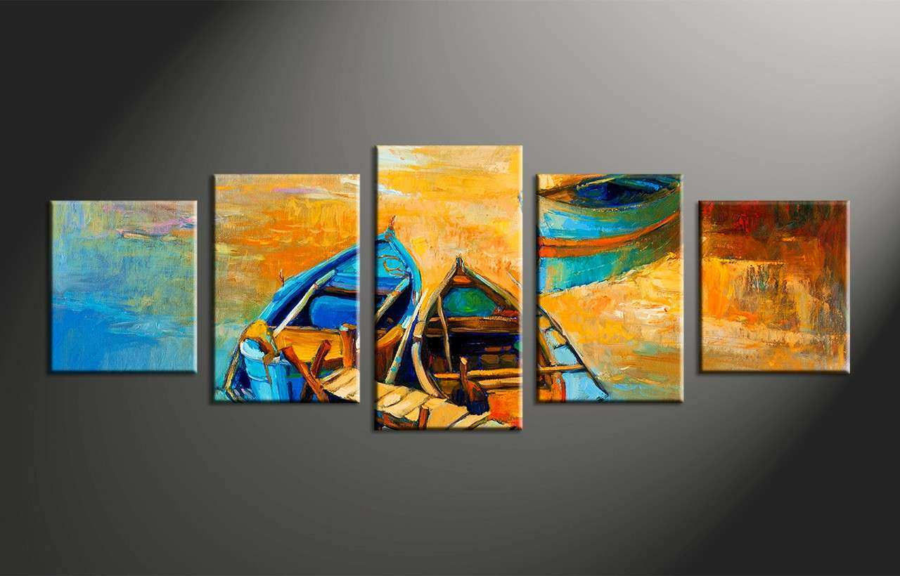 5 Piece Boats Ocean Oil Paintings Yellow Canvas Wall Decor