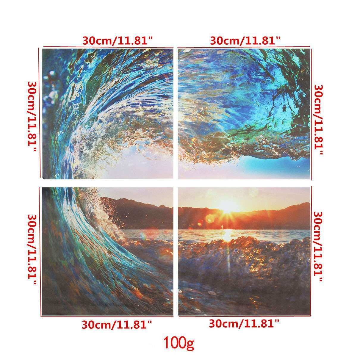 4PCS Modern Canvas Painting Ocean Wave Sunset Wall Art