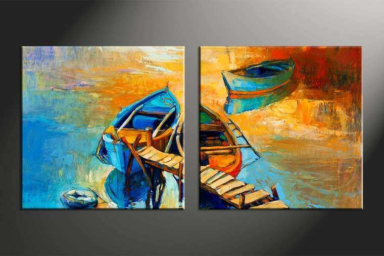 2 Piece Canvas Boat Ocean Oil Paintings Yellow