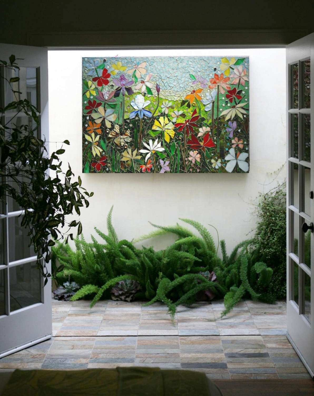 Outside Wall Art Awesome Mosaic Wall Art Stained Glass Wall Decor Floral  Garden Indoor
