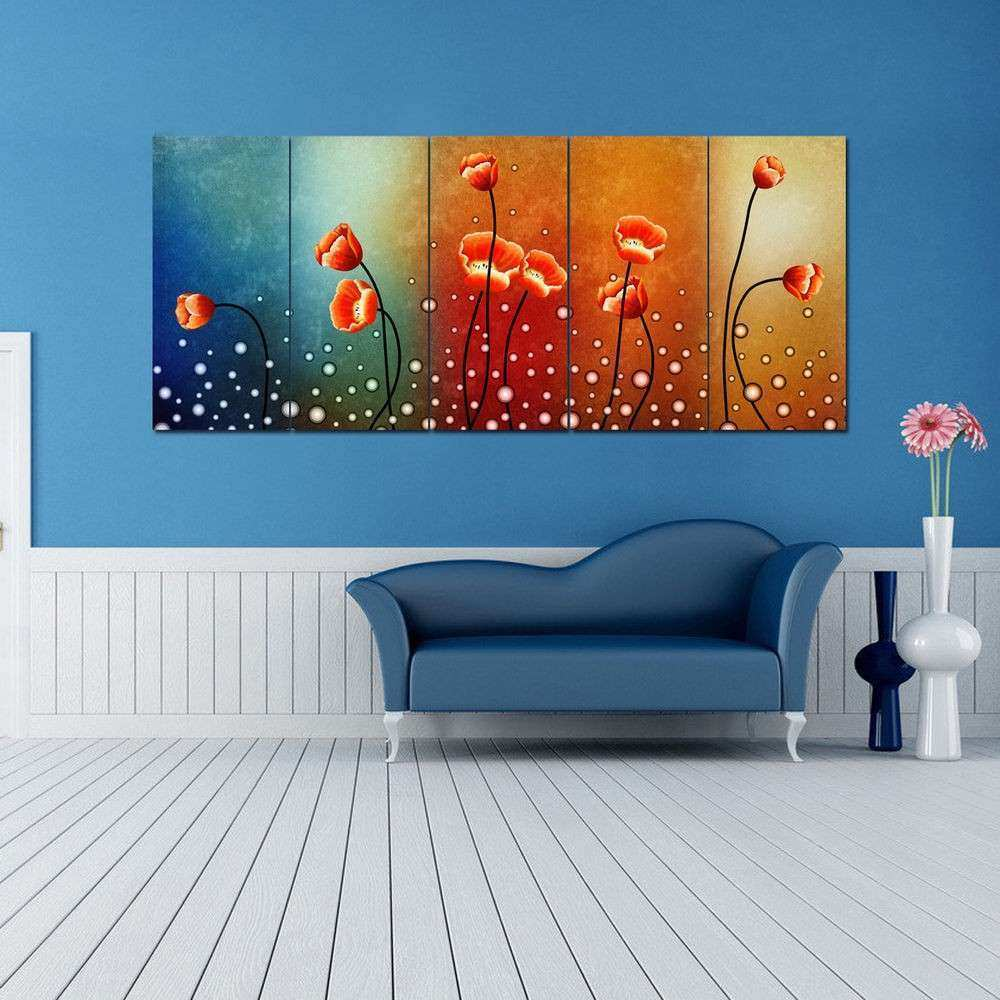 Ready To Hang 5 Panels Flowers Modern HD Canvas