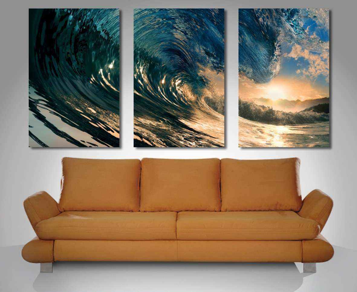 Crystal Wave Triptych 3 Panel Wall Art