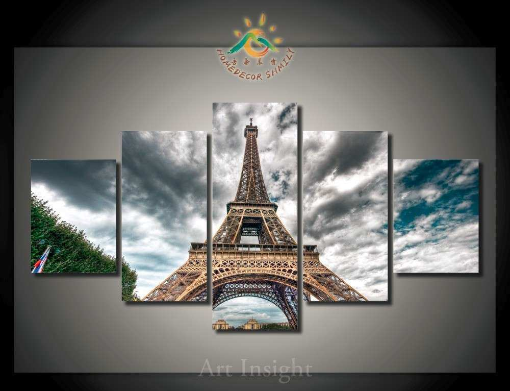 5 Pieces set PARIS FRAMED HANGING canvas Painting for