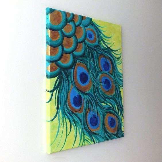 PEACOCK FEATHERS 12x16 canvas painting whimsical modern