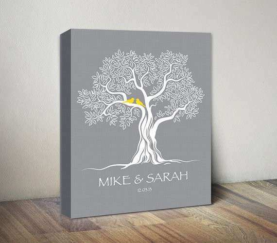 Family Tree Custom Wall Art CANVAS Couple Tree Personalized