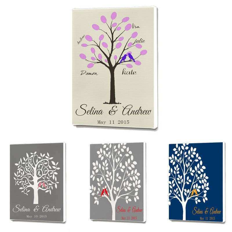 Custom Personalized Wedding Tree Guest Book Wall Decor Art
