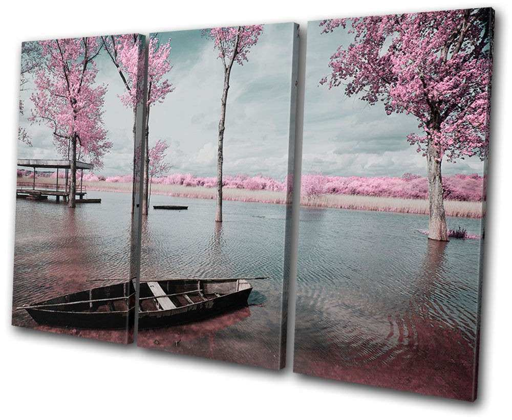 Sunset Seascape Tree Blossom Pink TREBLE CANVAS WALL ART