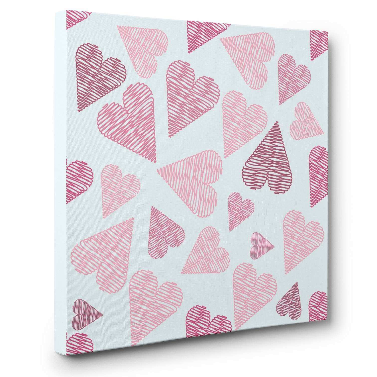 Pink Scribble Teen Room Décor HEARTS CANVAS Wall Art