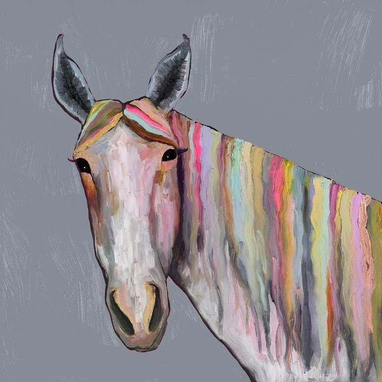 Horse on Pink Canvas Wall Art by Oopsy Daisy