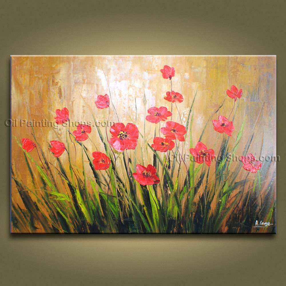 Astonishing Contemporary Wall Art Floral Painting Poppy