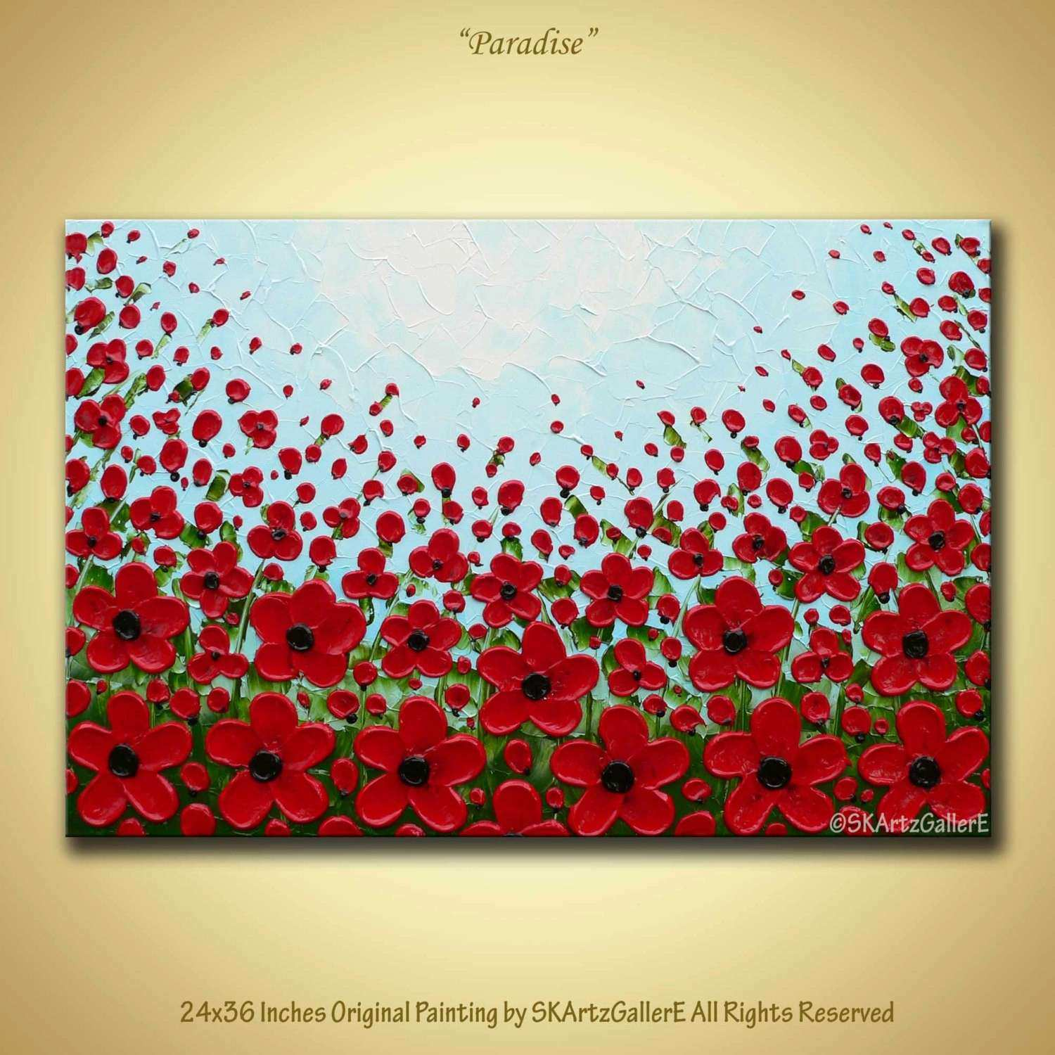 Original Painting of Red poppies canvas wall art of