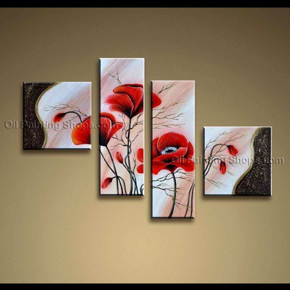 Contemporary Wall Art Floral Painting Poppy