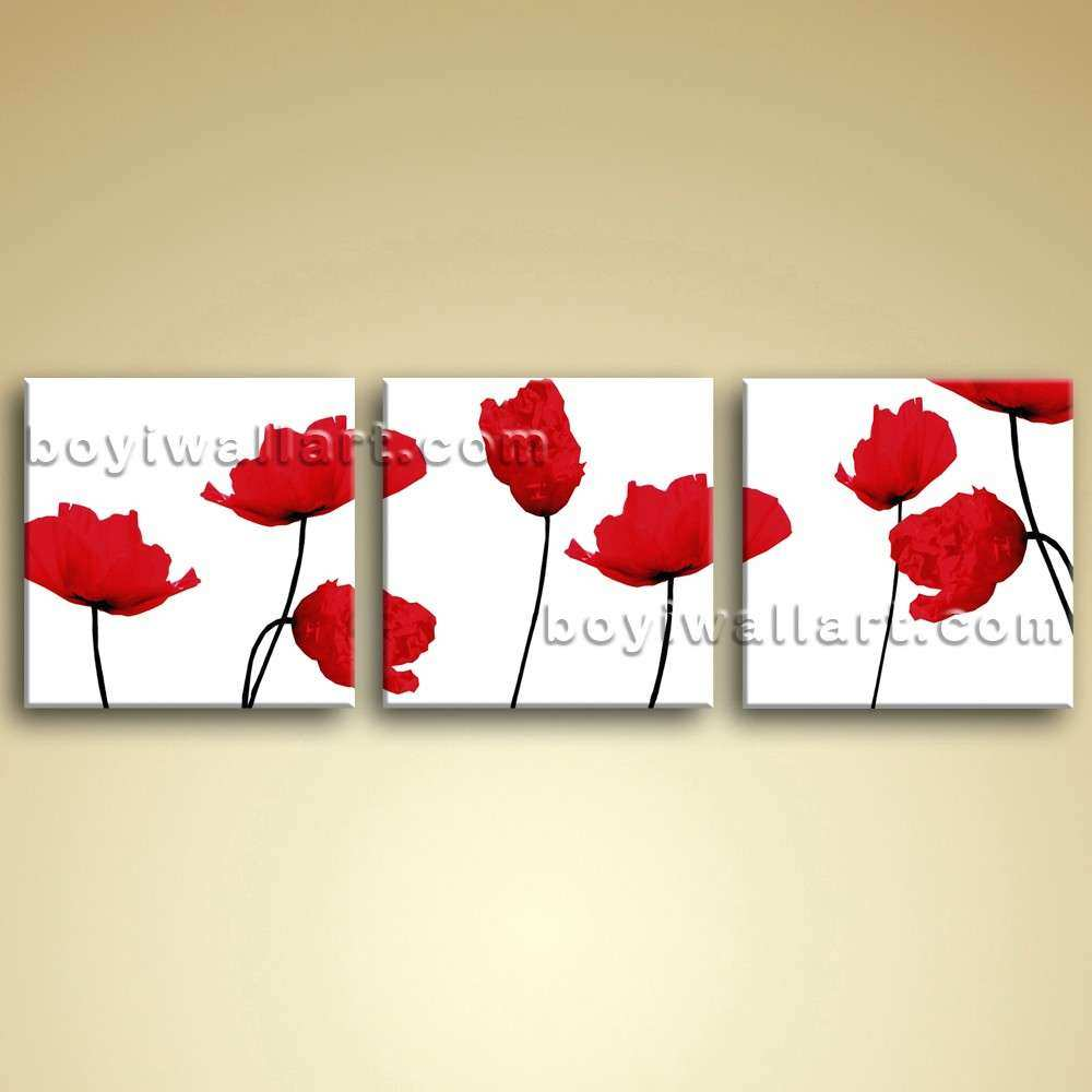 Living Room Wall Art Canvas Picture Oil Poppy Flower
