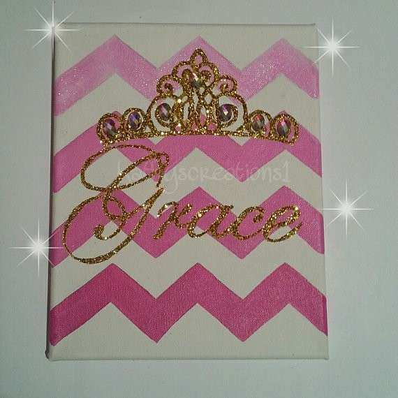 Princess Tiara Canvas Art crown painting handpainted