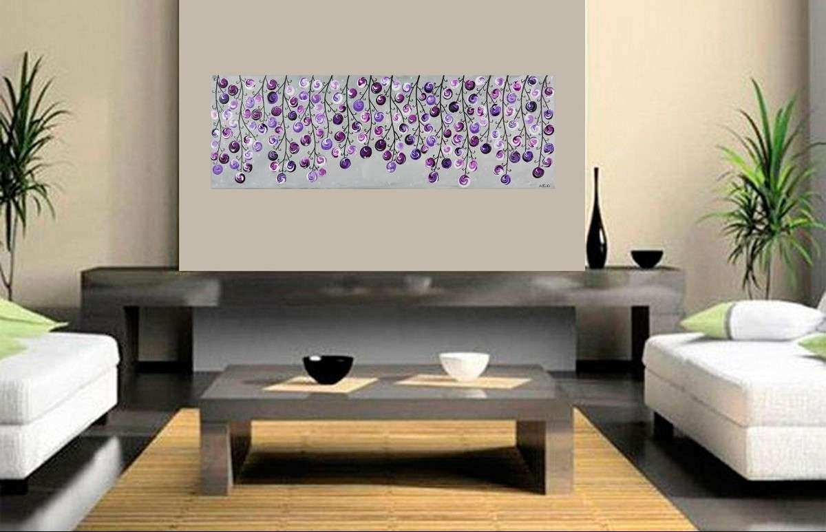"Lavender Wave by QIQIGallery 36"" x 12"" Original colorful"