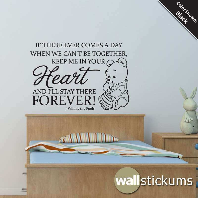 Nursery Wall Decal Quote Winnie the Pooh Heart by WallStickums