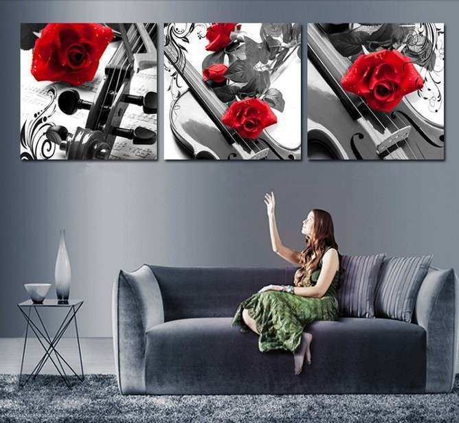 Handmade 3 Piece Black White Red Wall Art Oil Paintings