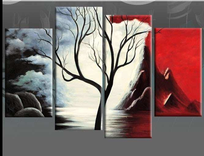 Contemporary red and black canvas wall art pictures painting