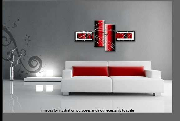 Black White Red Wide Stretch 4 Panel Abstract Canvas Wall