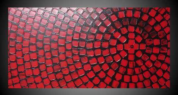 Black and Red Painting on large canvas Wall art deco Squares