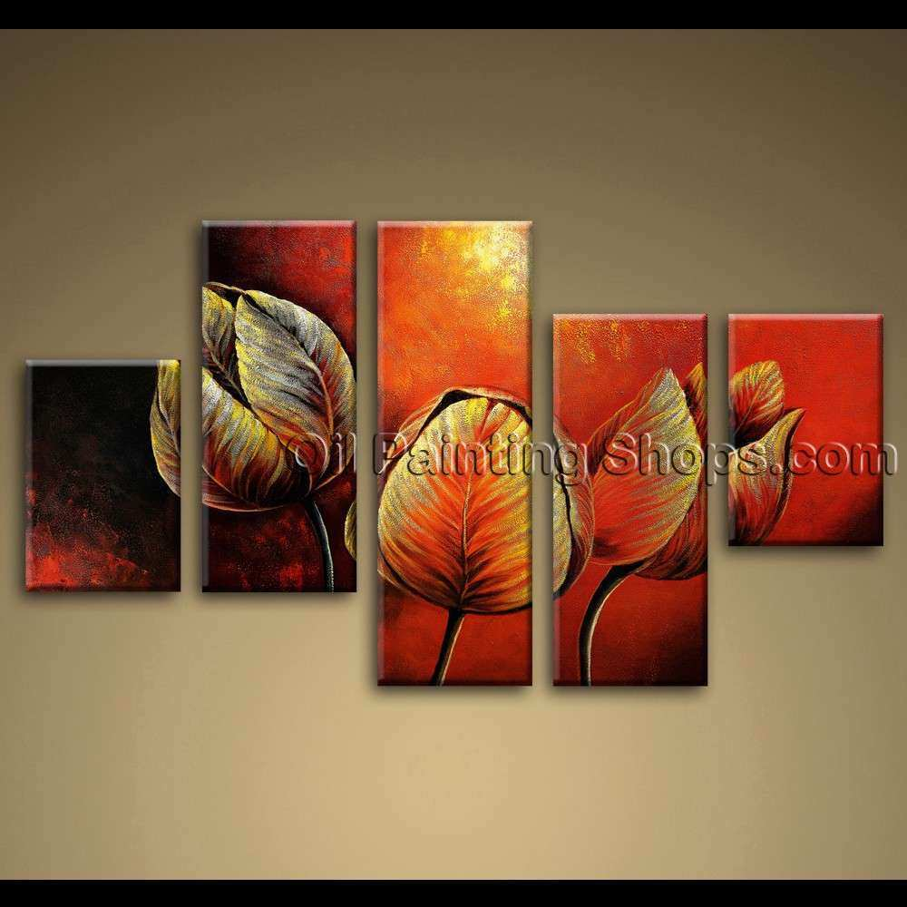 Canvas Painting Tulip Flowers Red Abstract Wall Art