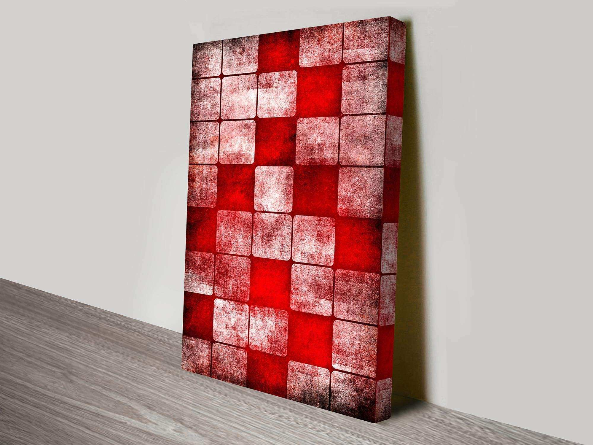 Red Cubes Abstract Canvas Wall Art