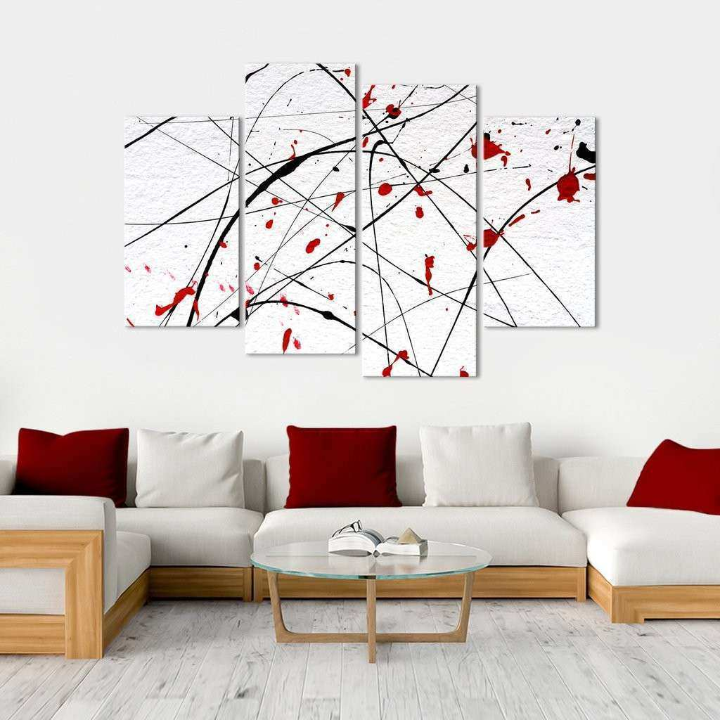 Red Wall Multi Panel Canvas Wall Art