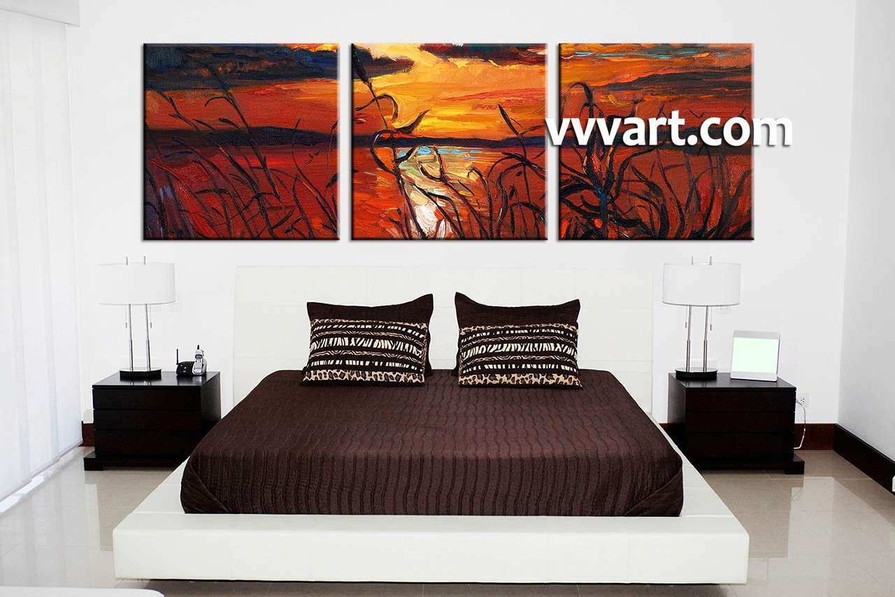 Triptych Ocean Sunset Oil Paintings Red Canvas Wall Art