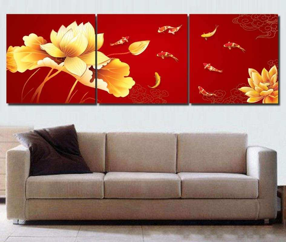 Koi fish wall art Chinese painting Red wall art Modern office wall painting 3 piece canvas wall