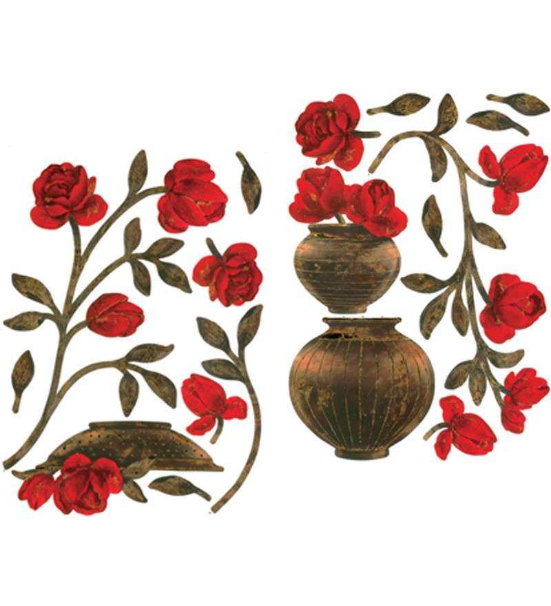 Wall Art Decor Red Floral Vase Wall Sticker by Wall Art