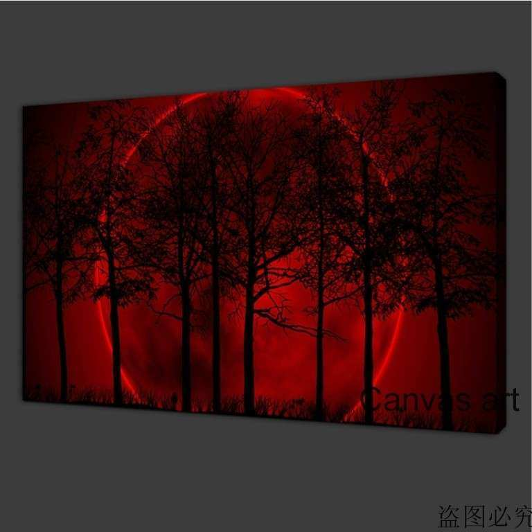 Canvas Print 30x48cm Wall Art Home Decor Painting Red Moon