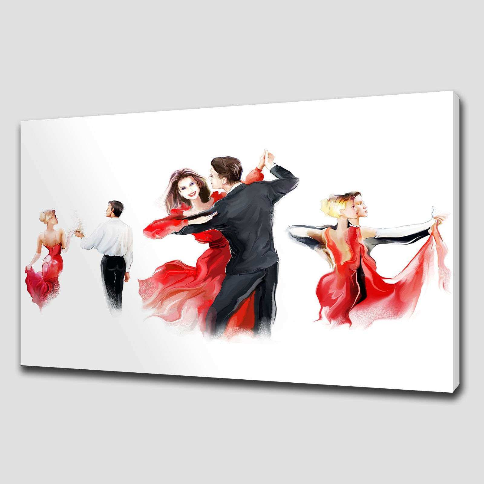 RED ABSTRACT DANCERS LARGE CANVAS WALL ART PICTURE PRINT HOME DECOR SIZE VARIETY Canvas Print Art