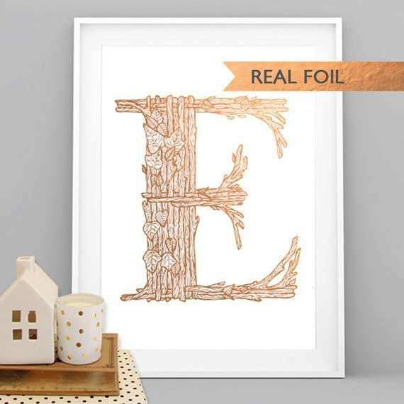 Rose Gold Woodland Monogram E A4 Art Print Wall