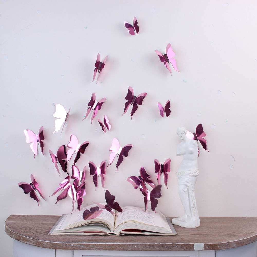 Wall Sticker Art Room Decoration 3D Butterflies Rose Gold