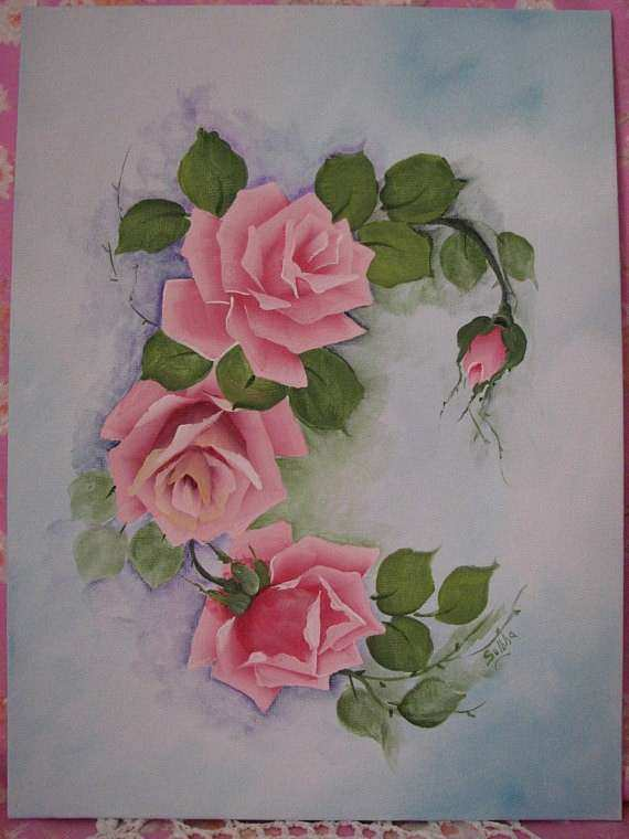 Rose Wall Decor Fresh Hand Painted Canvas Pink Roses Painting Wall Decor original