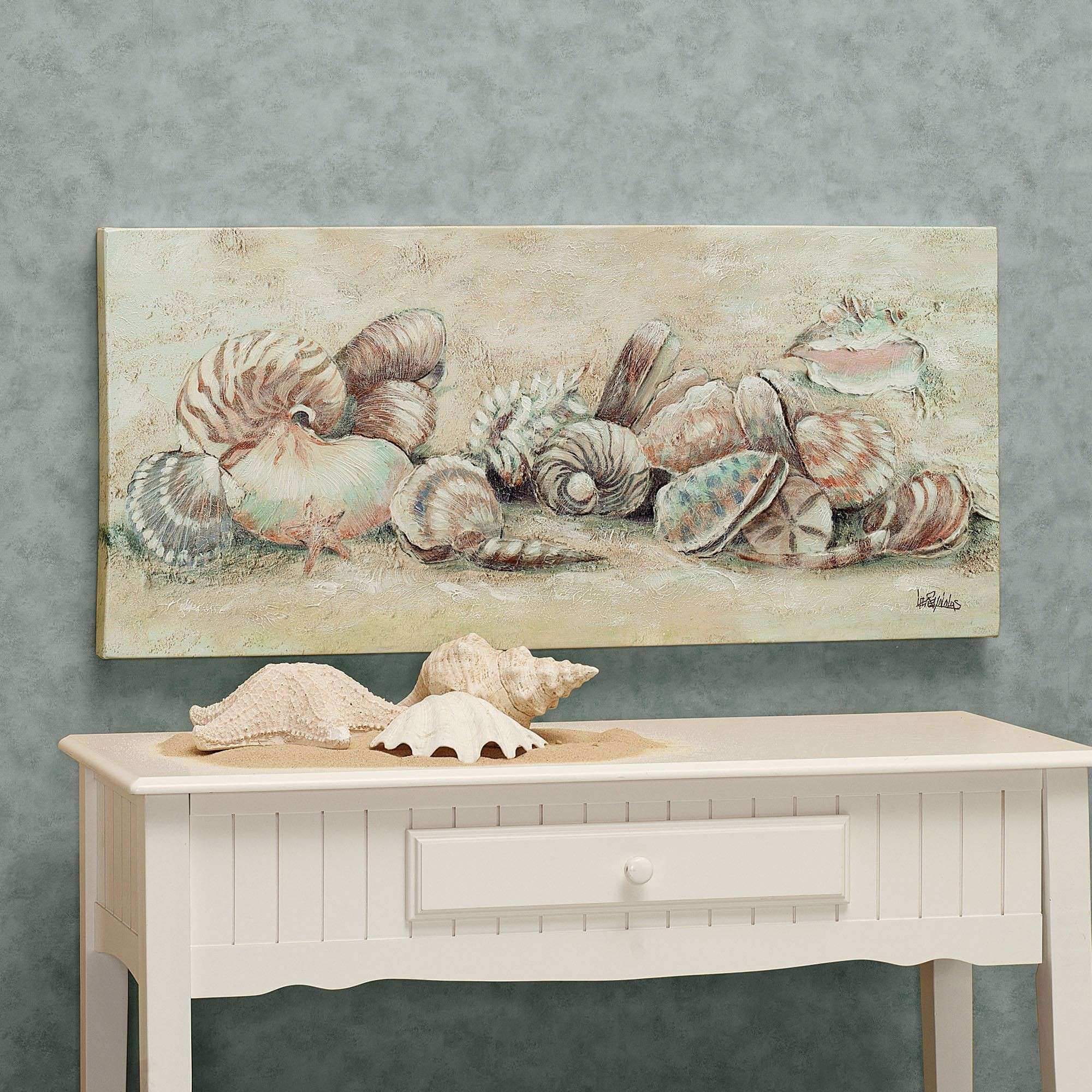 Turquoise accents seashell canvas wall art tropical metal