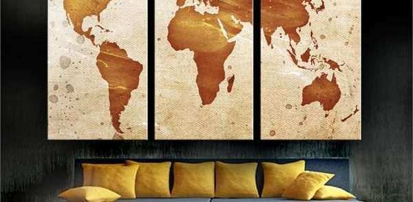 Split Canvas Wall Art Awesome Abstract Art World Map Canvas Print 3 ...