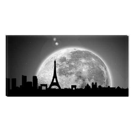 Startonight Canvas Wall Art Full Moon Paris Black and
