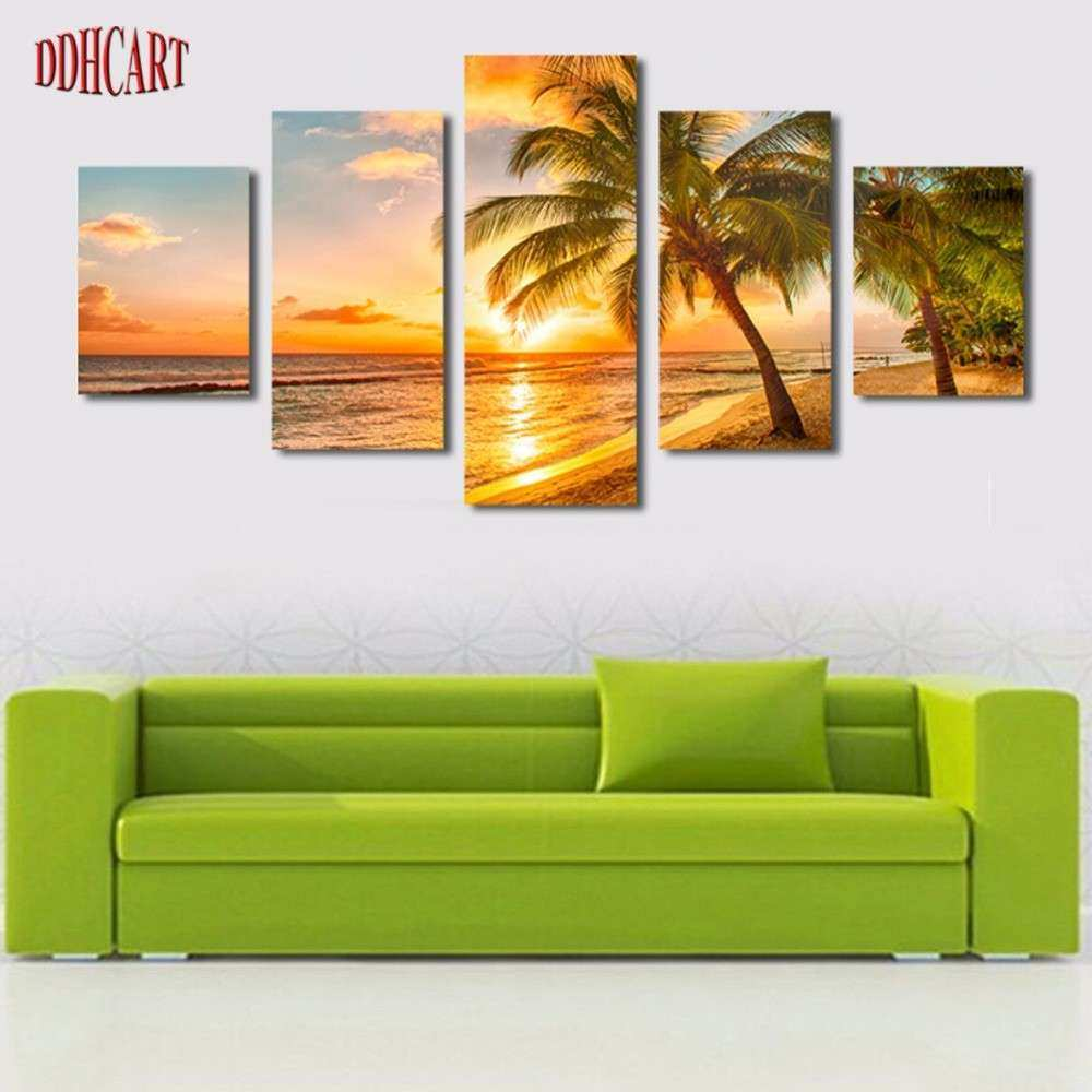 5 piece canvas painting Sunset Seaview Beach Picture Print