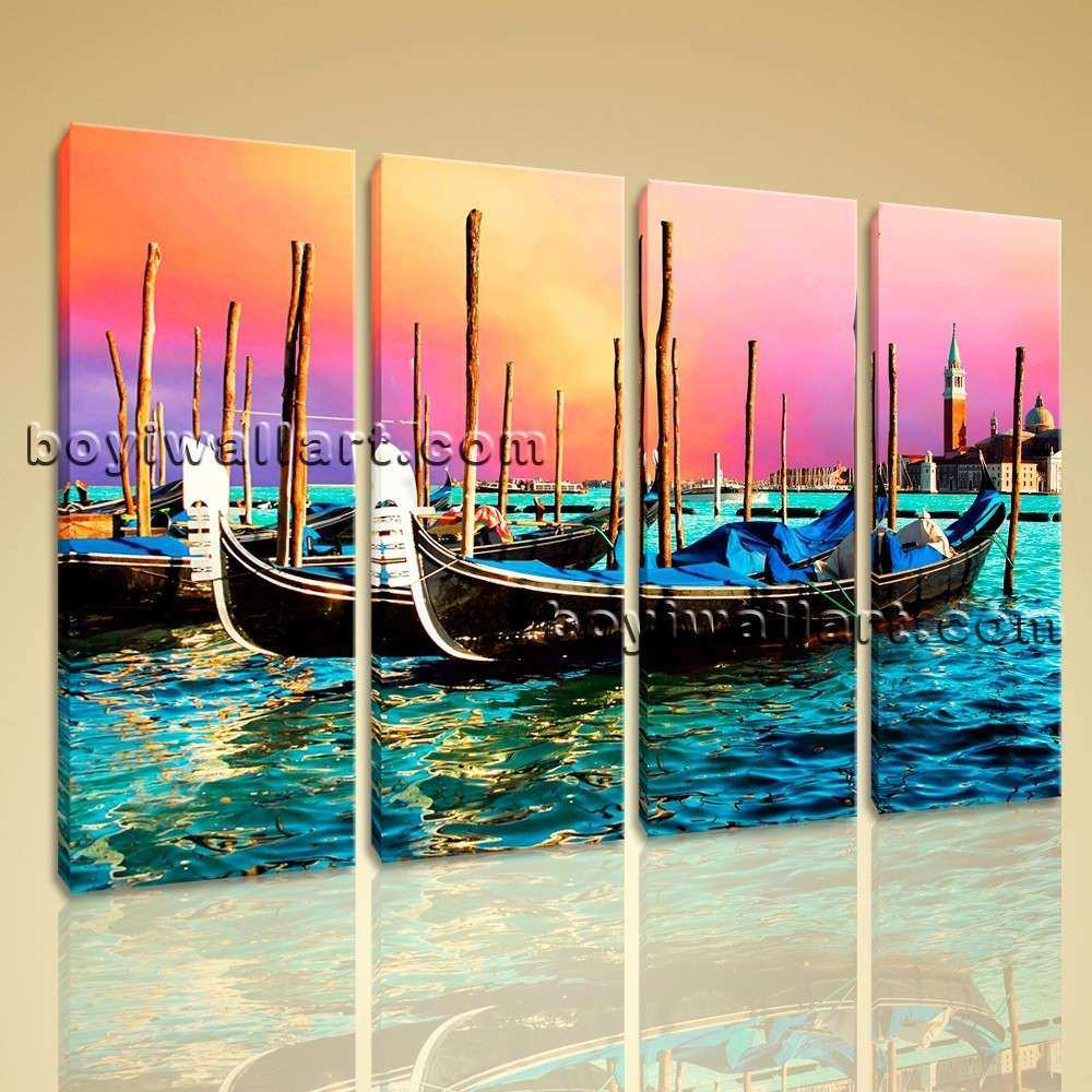 Abstract Seascape Boat Sunset Glow Print Canvas Wall Art