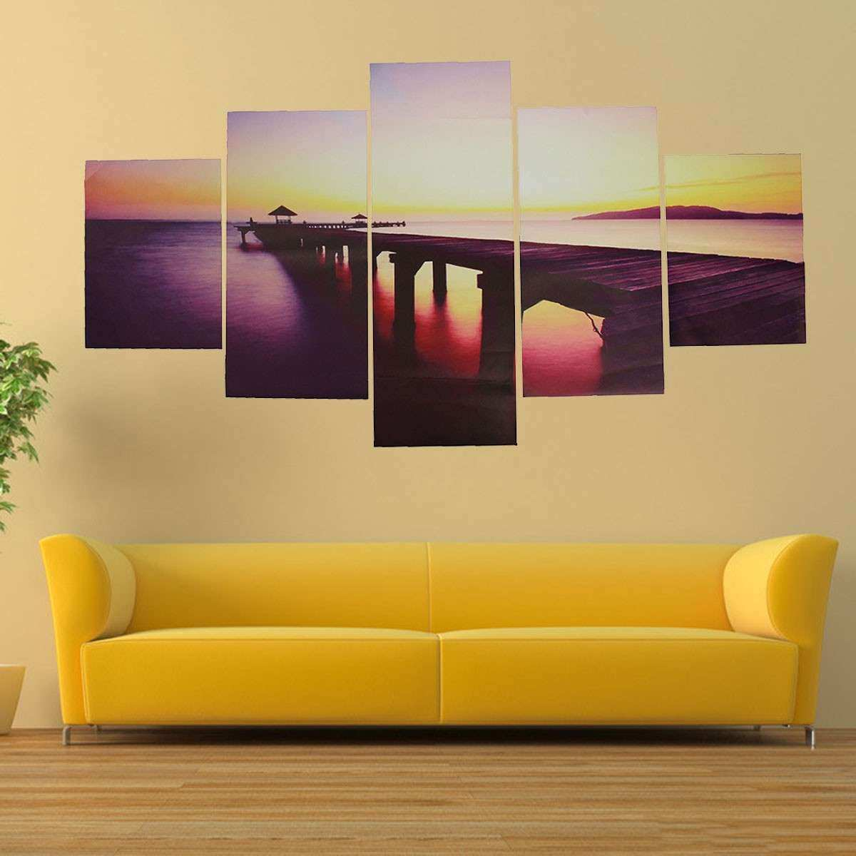 5Pcs Canvas Painting Sunset Seascape Print Seawater Modern