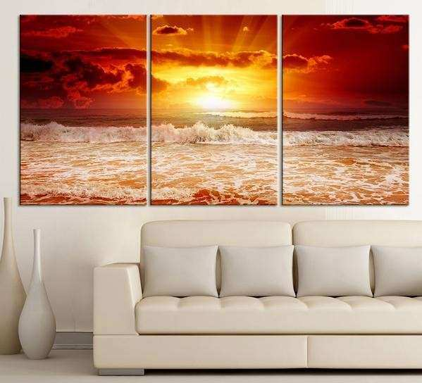 3 Piece Red Sunset on the Sea Canvas ART Print