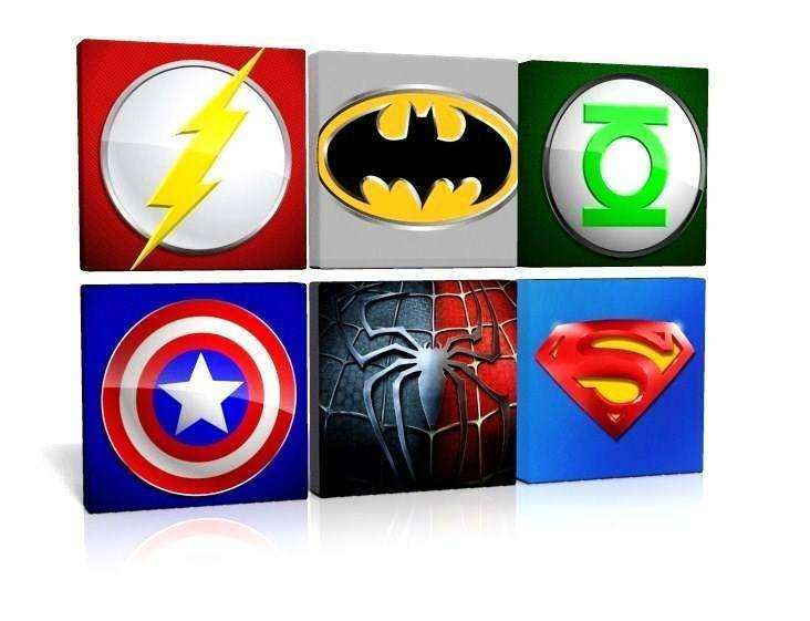 PICK AND MIX CANVAS PICTURES WALL ART SUPERHERO LOGOS