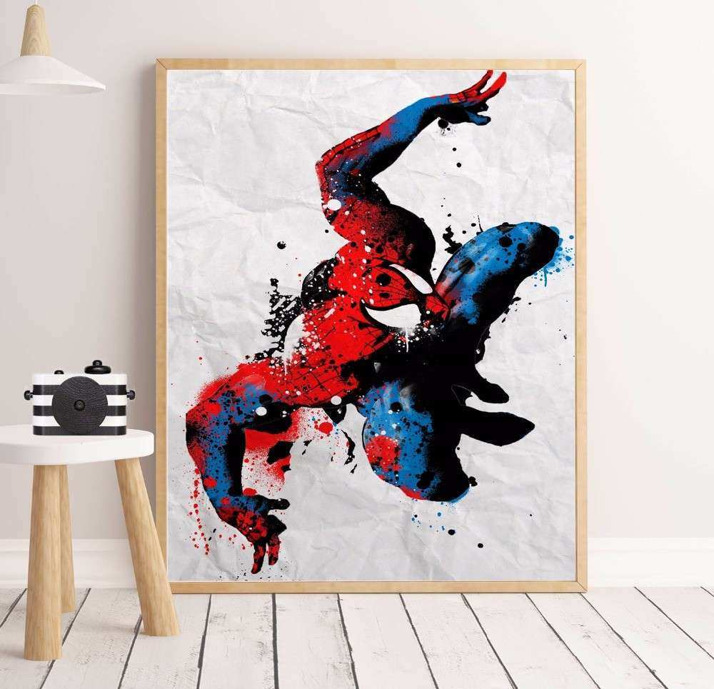 Aliexpress Buy Superhero Watercolor Splash Canvas Art