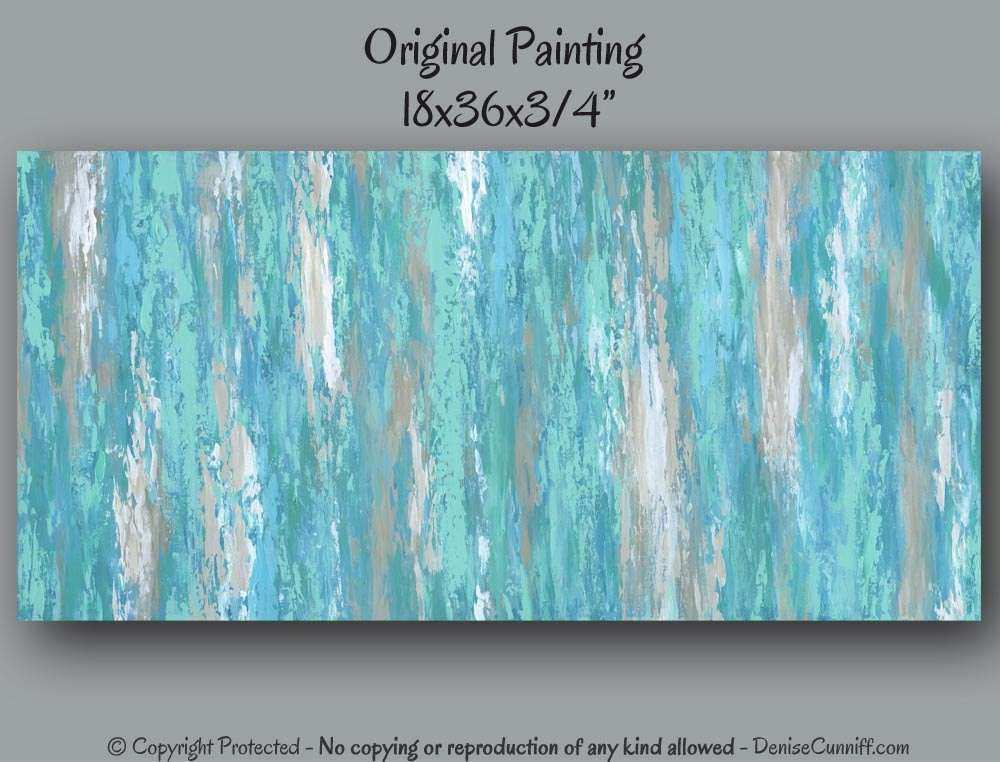 canvas wall art Teal abstract artwork Turquoise aqua