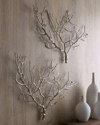 Spray Painted Branches Make an Interesting Feature