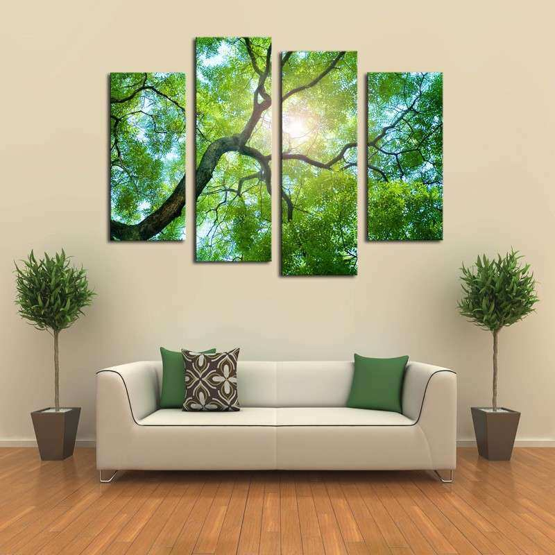 4 Panels No Frame Green tree Painting Canvas Wall Art