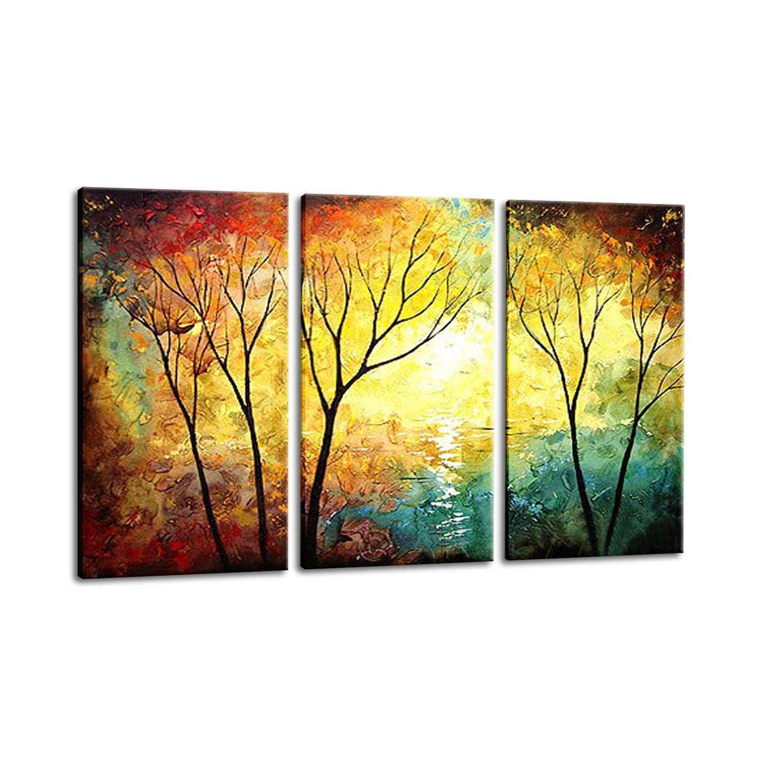 Tree Wall Art Canvas Luxury 3 Panel Set Wall Art Painting Yellow Red ...
