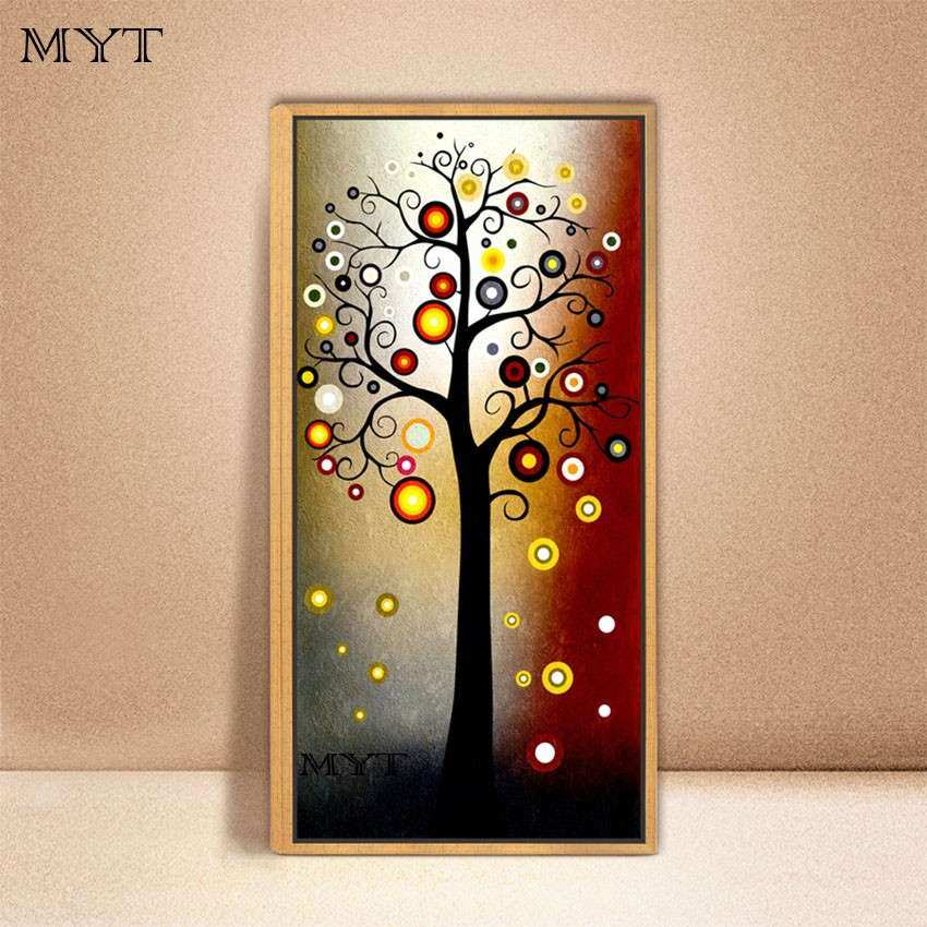Hand painted modern abstract money tree canvas wall art